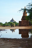 Reflection of Thatbyinnyu Temple  in Bagan Archaeological Zone Stock Photos