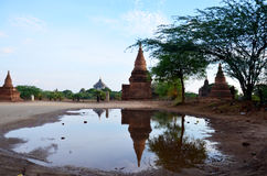 Reflection of Thatbyinnyu Temple  in Bagan Archaeological Zone Stock Images