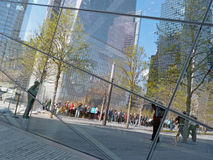 Reflection of tourists in September 11 Memorial Stock Photo