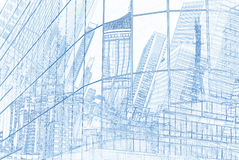 Reflection of towers in glass wall of business building. Illustration style royalty free illustration