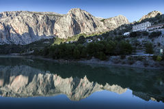 Reflection of the town El Chorro Stock Image