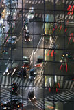 Reflection of traffic. Traffic reflecting on building facade Royalty Free Stock Images
