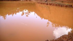 Reflection of tree and hill in orange water. From digging soil horizon stock video footage