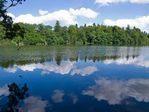 Reflection of trees and clouds in a lake Stock Photography
