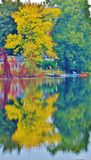 Reflection of trees onto pond. Colorful trees reflecting onto a pond Stock Photo