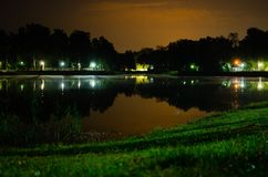 Reflection of trees and sky in the lake at night royalty free stock photography