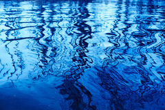 Reflection of trees on water. Reflections on blue water in a sunny day Stock Images