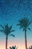 Palms reflection in blue water summer time background. Royalty Free Stock Image