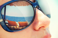 Reflection of a tropical resort stock image
