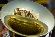 Reflection of Tuba close up shot Royalty Free Stock Image