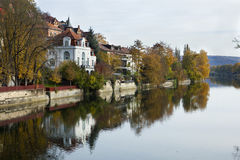 Reflection of Tuebingen at Neckar Royalty Free Stock Photography