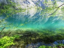 Reflection  in turquoise lake Royalty Free Stock Photography