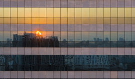 Reflection Of Twilight Sunset Cityscape Scene On Windows Of Skys Royalty Free Stock Photos