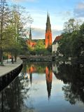 Reflection of Uppsala Cathedral Stock Photography