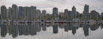 Reflection at Vancouver BC Waterfront Marina Royalty Free Stock Photos