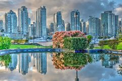 Reflection of Vancover skyline. Royalty Free Stock Image