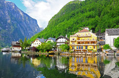 Reflection of village in Hallstatt, Austria Stock Image