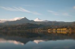 Reflection of the Volcano Villarica -long exposure Royalty Free Stock Image