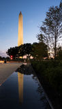 Reflection of Washington Monument in bench. Reflection of Washington Monument at sunset in the polished top of a marble bench Stock Images