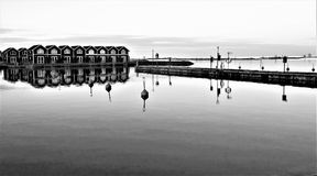 Reflection, Water, Black And White, Pier Stock Photography