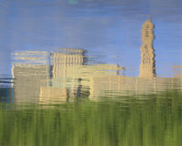 Reflection in water of Hartford, CT skyline Stock Image