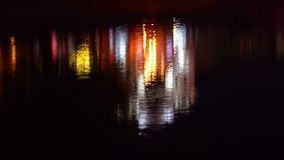 Reflection in the water of illumination the bridge stock footage