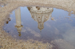 Reflection in water of Le Domus Romane di Palazzo Valentini. With a blue sky Royalty Free Stock Photos
