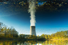 Reflection in the water of nuclear power plant Royalty Free Stock Images