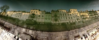 Reflection in water - old Ljubljana town Royalty Free Stock Photography