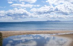 Reflection in water. Reflection of a sky with clouds in water Royalty Free Stock Photos