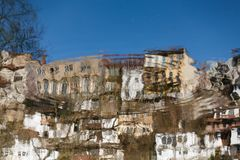 Reflection in the water of Veliko Tarnovo Stock Images