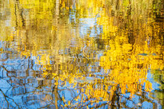 Reflection in water yellow foliage and blue sky. On a sunny autumn day. The image is blurred Stock Photo
