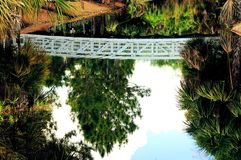 Reflection of white bridge Royalty Free Stock Photos