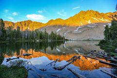Alpine lake in the White Cloud Wilderness near Sun Valley, Idaho. Reflection of the White Cloud Mountains in a remote alpine lake near Sun Valley, Idaho royalty free stock photo