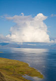 Reflection of white clouds in the blue water Royalty Free Stock Photography