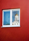 Reflection in the window of the church Royalty Free Stock Images