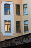 Reflection in the Window and Graffiti Royalty Free Stock Photography