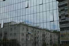 Reflection on windows of modern building, Warsaw, Poland Royalty Free Stock Images