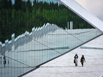 Oslo Opera house. Reflection in the windows. Norway Royalty Free Stock Photography