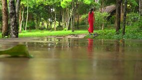 Beautiful Woman in Red Dress Walking in Tropical Garden. Reflection of the woman in a pond. The girl walks in tropics. Beautiful Woman in Red Dress Walking in stock video