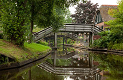 Reflection of Wooden Bridges on Canals of Giethoorn Stock Photography