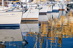 Reflection of yachts in water Royalty Free Stock Images