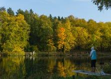 Fall time yellow and orange trees around the pond stock photo
