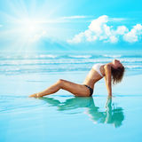 Reflection of young woman royalty free stock images