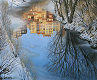 Reflections. An oil painting on canvas of a winter scene with colorful buildings reflection in a partly frozen mountain river Royalty Free Stock Image