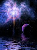 Reflections. An alien sky reflects from a water world vector illustration