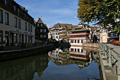 Reflections. Historical houses reflection in Strasbourg, France Stock Images