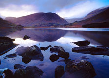 Reflections. Dawn breaks over The Macgillycuddys Reeks, Co.Kerry, Ireland Royalty Free Stock Images