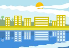 Reflections. Scenic city landscape with reflections in the river vector illustration