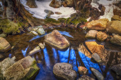 Reflections From Above. Reflections in a river in the winter in the Wasatch mountains of Utah USA Stock Image